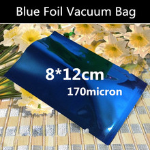 200pcs 8x12cm High Quality 170micron Small Blue Aluminum Foil Mylar Bag Vacuum Sealer Package Shipping Safe Food Packaging Seeds
