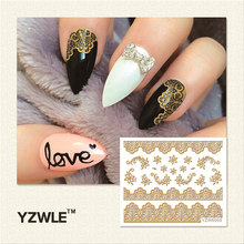 YZWLE 1 Sheet Hot Gold 3D Nail Art Stickers DIY Nail Decorations Decals Foils Wraps Manicure Styling Tools (YZW-6009)