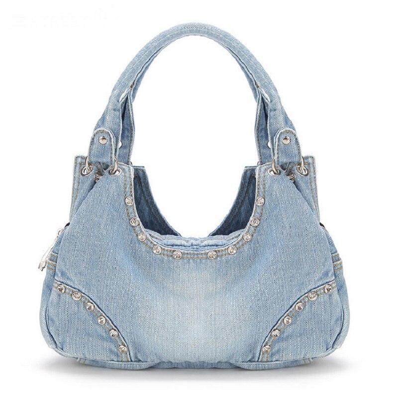 Vintage Half Moon Diamonds Fashion Denim Jeans Shoulder Bags Girls Handbags Crossbody Bag Women Messenger Bags bolsa feminina<br><br>Aliexpress