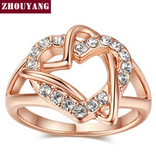 Top Quality ZYR324 Fashion Design Engagement Rose Gold Color Wedding Ring Austrian Crystals Full Sizes Wholesale