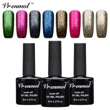 Vrenmol 1pcs Shining Platinum Gel Nail Polish Soak Off UV Platinum Nail Gel Manicure For 12 Colorful Shining Glitter