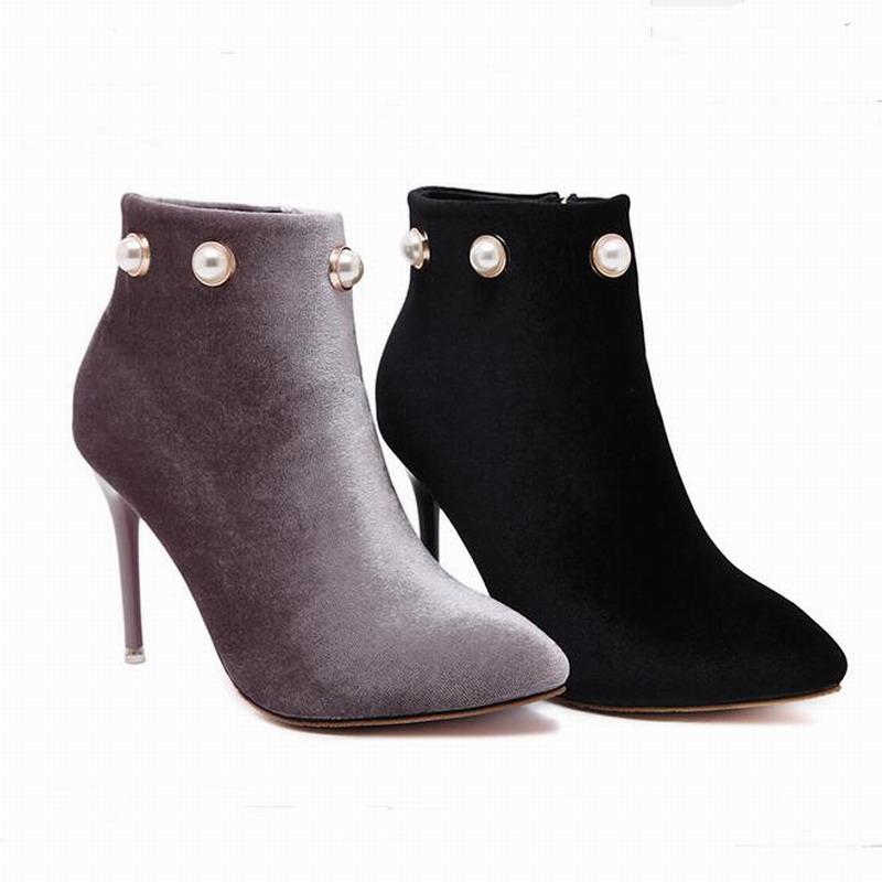 New women pumps pointed toe high heels boots shoes woman party wedding dress stiletto winter ankle boots shoes beading <br><br>Aliexpress