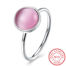 Summer Collection Pure 925 Sterling Silver Rings Pink Gem Finger Ring Women Fine Jewelry Wedding Rings Jewelry(China)