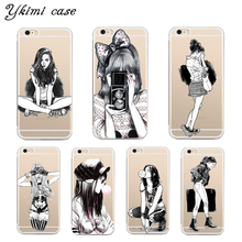 Black sketch fashion girl design phone cases For iphone 8 5s SE 5c 6 6s 7 plus cover case Transparent soft silicone TPU