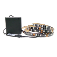 5050 Battery LED Strip RGB Black PCB IP20 / IP65 Waterproof Decorative Light 4*AA Battery Operated With RGB Controller(China)