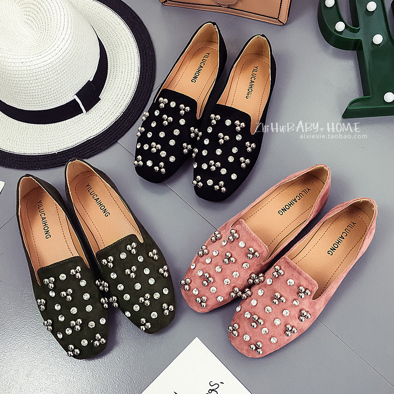 Rhinestone single shoes flat 2017 all-match spring and autumn Moccasins square toe velvet womens shoes <br><br>Aliexpress