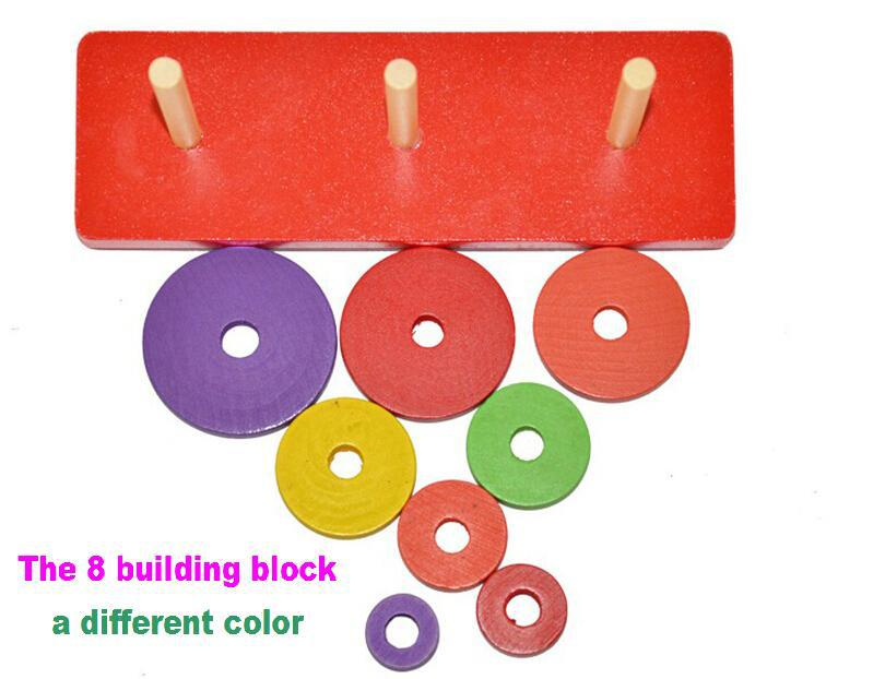 1 Set  Childrens educational toys Wooden Piling Ring Early Development Interactive Game<br><br>Aliexpress