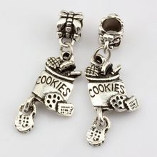 Hot Sale ! 10pcs Antique Silver Alloy cookies Charm Dangle Bead Fit Charm Bracelet 13 x 39mm DIY Jewelry  nm362