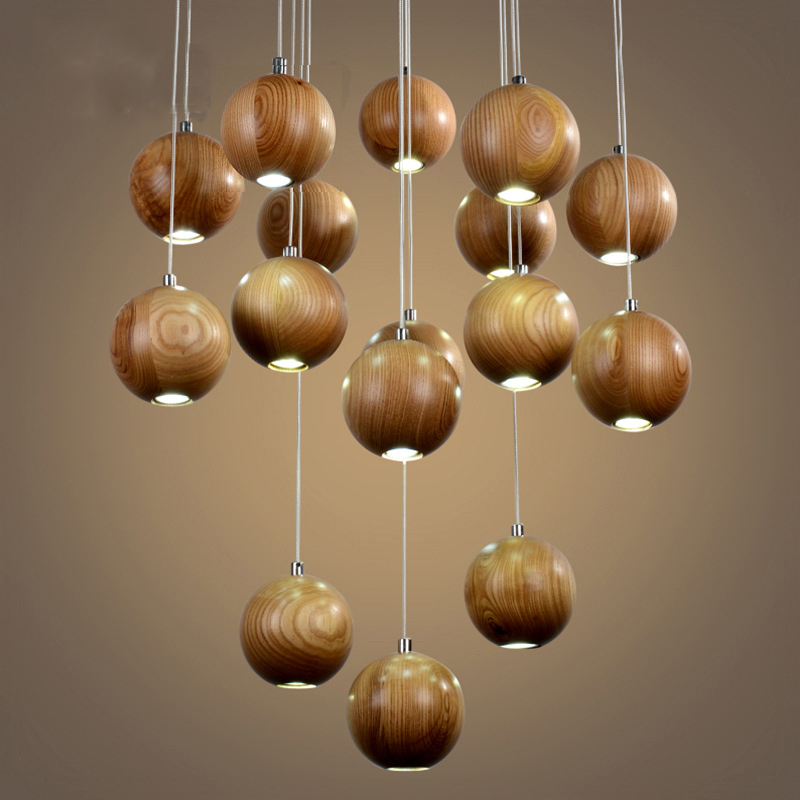 vintage Pendant Lamp 16 heads industrial cage lighting Modern Classic Fashion Wood suspension luminaire industrie <br>