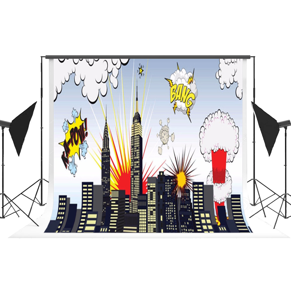 Cartoon City Backdrop Superhero Photo Background Children Photocall Props for Kids Themed Photography Fond Studio Kate<br>