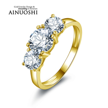 AINUOSHI 10k Solid Yellow Gold Band Ring 3 Stones Forever Brilliant Round Cut Simulated Diamond Joaillerie Women Wedding Rings