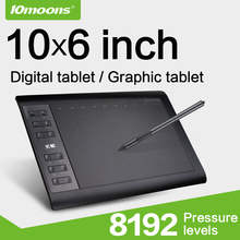 10moons 10*6 Inch Graphic Tablet 8192 Levels Digital Tablets Drawing Tablet No need charge Pen Tablet (China)