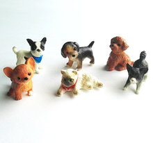 6pcs/lot Simulation Lovely Pet Mini Animals Cat Dog Decoration Animal PVC Figures Toys Cute Puppy Kids Toys Dolls(China)