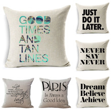 Letter Cushion Cover GOOD TIMES AND TAN LINES Gift Pillow Cover I  Mosaic Style Sofa Cushion Cover Home Decorative Pillow Cover