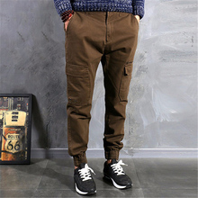 Mens Multi Pocket Joggers Pants Men Cotton Cargo Pants Casual Zipper Pants Male Elastic Opening bottom Trousers Hip Hop(China)