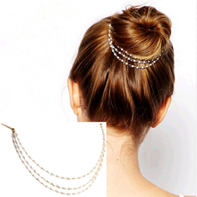 H:HYDE Punk Hair Cuff Pin Clip 2 Combs Tassels Imitation Pearl Chains Head Band Fashion Party Wedding Accessories Jewelry