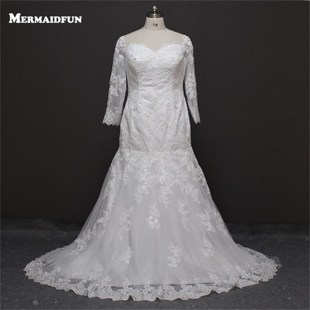 2017 Real Photos Mermaid Plus Size Long Sleeve Beaded Lace Sweetheart Wedding Dresses Large Size Bridal Gown