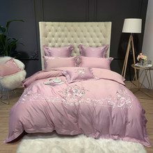 Luxury European Palace Bedding Set Flower Embroidery 80S Egyptian Cotton Pink Duvet Cover Bed sheet Bed Linen Pillowcases 4/7pcs(China)
