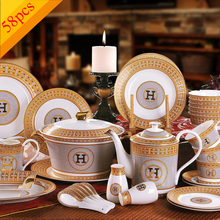 "Porcelain dinnerware set bone china ""H"" mark mosaic design outline in gold 58pcs dinnerware sets dinner set coffee sets gifts(China)"