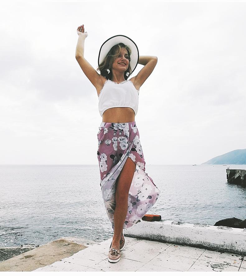 2018 Women Pants Beach Floral Print High Waist Plus Size Loose Chiffon Casual Wide Leg Pants Pink Split Sexy Women Trousers Sale 9