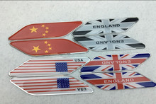300 pair China England USA Germany France Italy Japan Australia Canada Flag Car Side Sticker Aluminum National Flags Car-styling