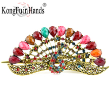New Arrival Peacock Barrettes Hair Jewelry Women's Vintage Hairpins Hair Clip Bohemia Accessories Ancient Enamel Animal Style(China)