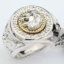 Free Shipping real Jewelry Men's Band silver Ring white Cool Lion Eagle Star rings Size: 8,9, 10,11# Wholesale 2pcs