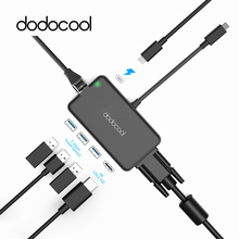 dodocool 7-in-1 Multifunction USB-C Hub with Type-C Power Delivery 4K Video HD/VGA Output Gigabit Ethernet Adapter USB 3.0 Ports