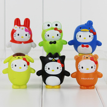 6Pcs/Lot My Melody Doll Set Toy Sanrio Hello Kitty Cosplay badte-maru Keroppi Action Figure KT Cat  Melody PVC Figure Doll Toys