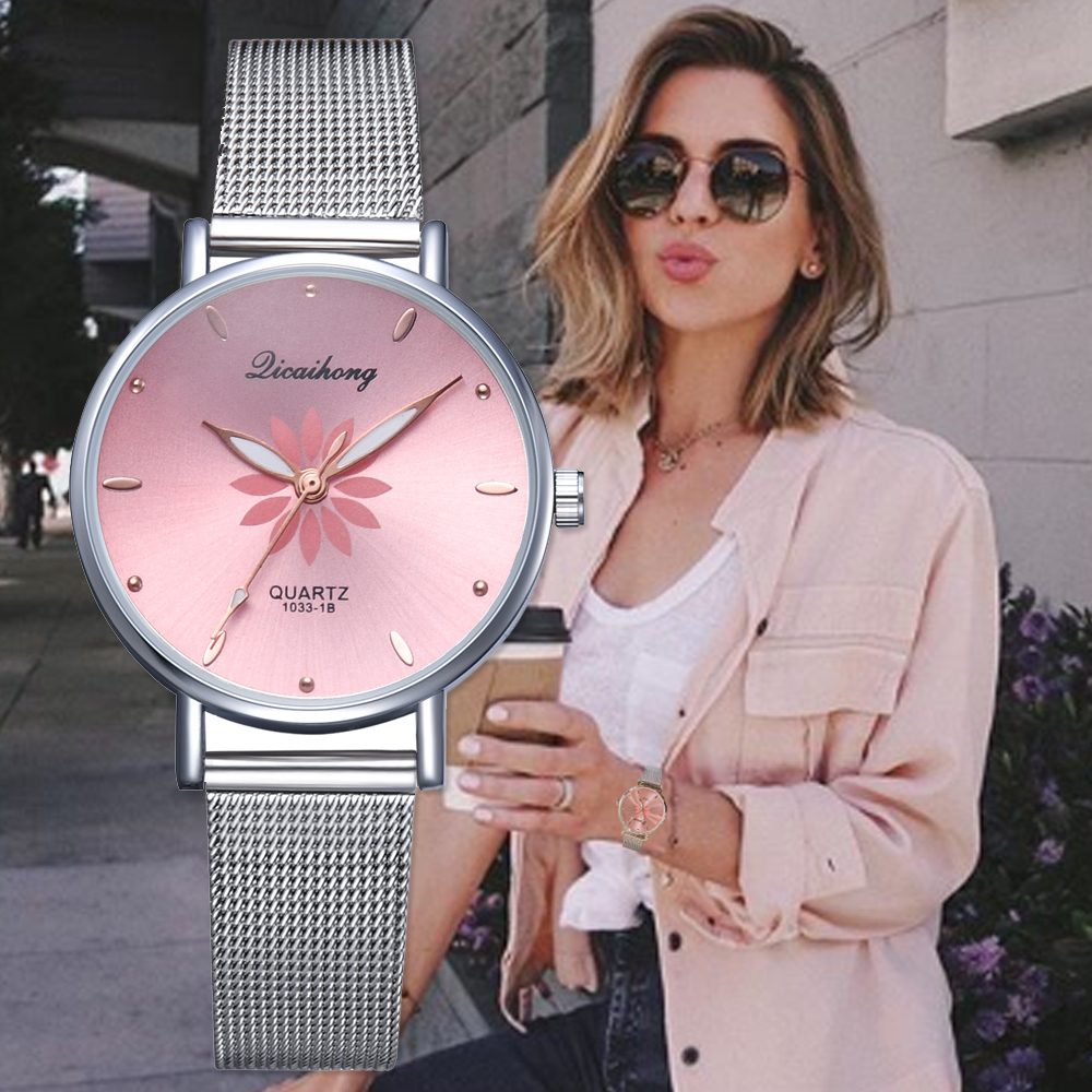 Watches For Women Luxury Silver Popular Pink Dial Flowers Metal Ladies Bracelet Quartz Clock Ladies Wrist Watch 2018 New(China)