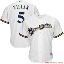 MLB Men's Milwaukee Brewers Jonathan Villar 5 Baseball Home White Official Cool Base Replica Player Jersey(China)