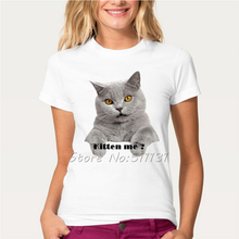 2017 Fashion Cute Naughty Cat Design T Shirt Womens/Lady Lovely Animal T-Shirt Summer Good Quality Comfortable brand Casual Tops(China)