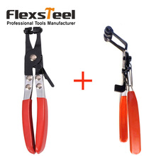 "2 Pieces 8.5"" Hose Clamps Pliers Set 45 Degree Angle Bent Nose Hose Clamp Pliers Tool+Straight Flat Band Hose Clip Pliers"