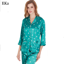 2017  Autumn Women Silk Nightwear Pyjamas Nature Silk Home Clothing Sleepwear Soft Skin Care High Quality Factory Wholesale