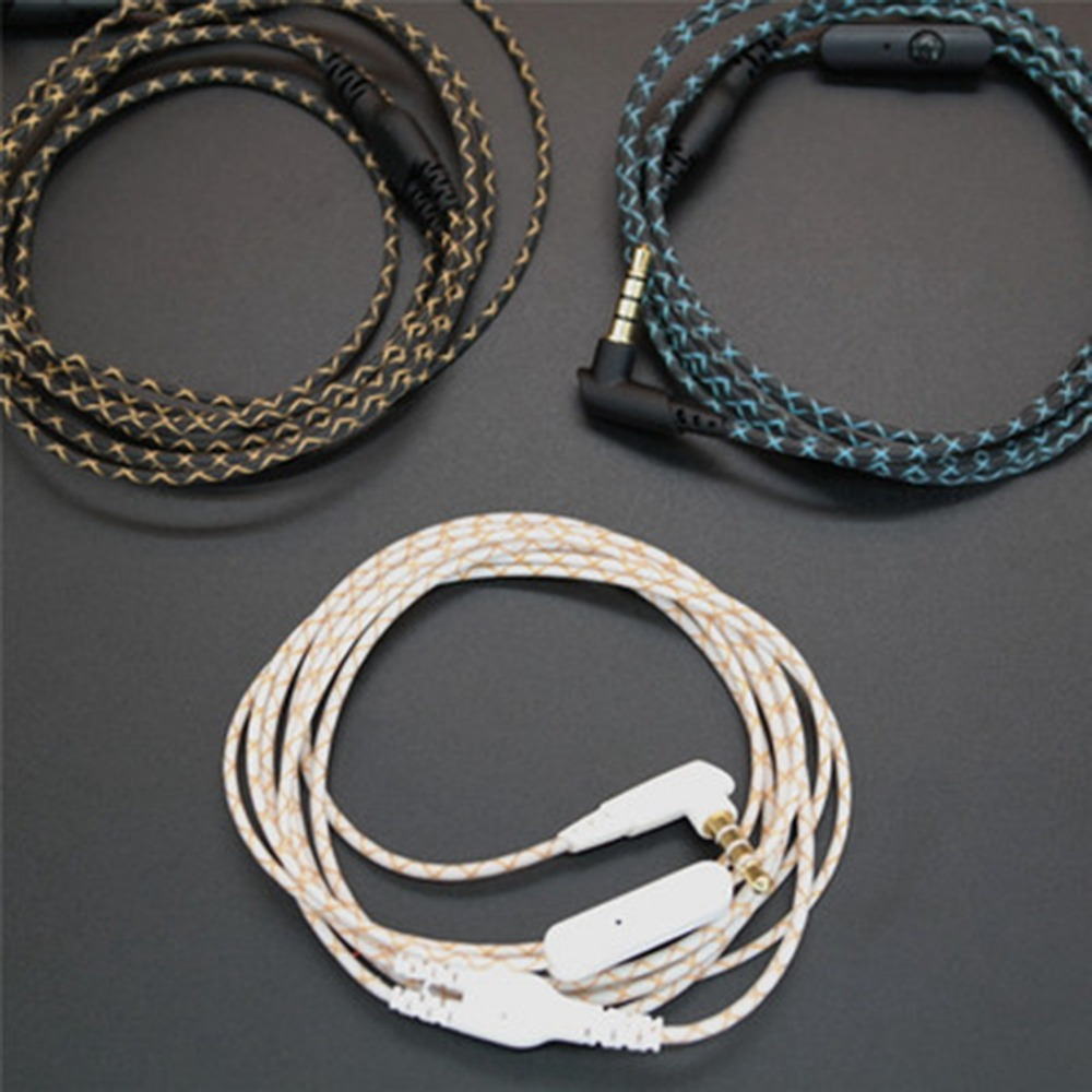 DIY Earphone Audio Cable Snakeskin wire Semi-finished serpentine cables with Mic for mobile phone (21)