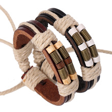 New Arrival Hemp Rope Weave Genuine Leather Bracelet Men's Bangle Zinc Alloy Retro Spring Charm Wooden Bead Jewelry For Women
