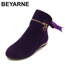 New style cute five colors 43 large size autumn winter boots suede bow shoes for women short round toe solid ankle boots
