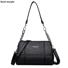 2018 PU Leather Women Messenger Bag with soft artificial leather female bag Ladies Crossbody Bag Chain Trendy Shopping Handbag(China)