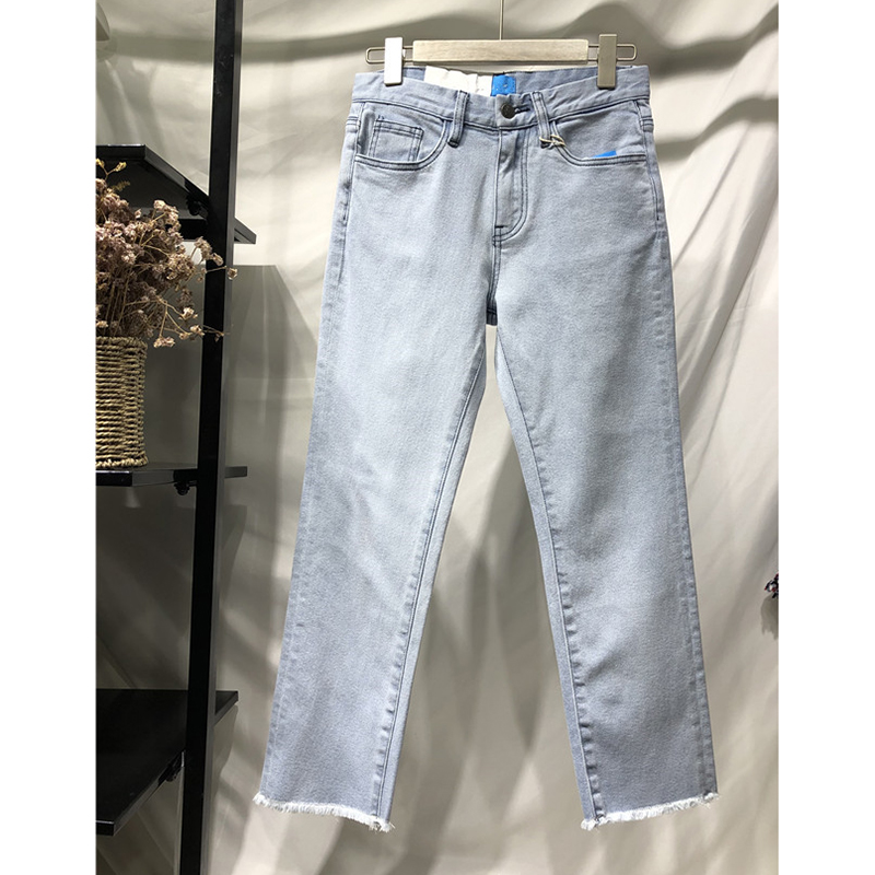 women's slim jeans mid-rise washed denim straight pants retro casual fashion women's Leisure Light blue Nine pants Trousers 2019