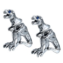 QIMING Realistic T-REX Stud ANIMAL Tyrannosaurus Studs Two parts earrings for Men women Lovers Nice Earrings Famous Brand Jew