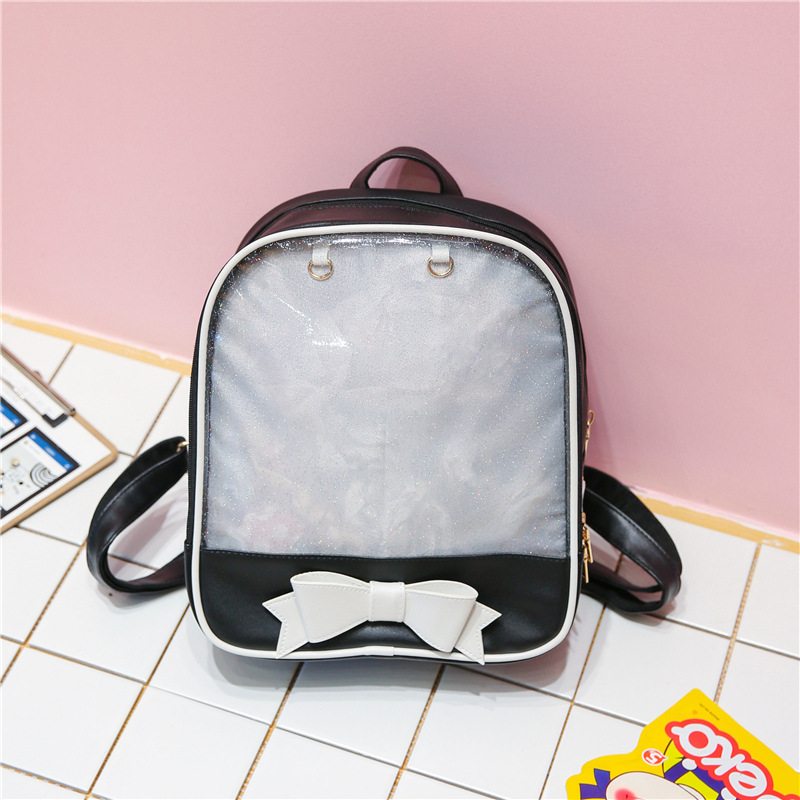 74824bea1c38 Women Jelly Transparent Backpack Candy Color Cute Bow Ita Bag Korean School  Bags for Teenage Girls PU Leather Backpacks Mochila