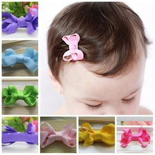 20pcs/lot Baby Hair Accessories Girls Hair Clips Small Ribbon Bow Hairpins Headwear boutique barrettes for children A18