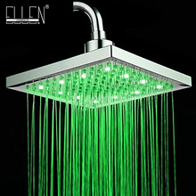 "LED square shower head 8"" rain shower light change power from water flow 3 color shower head(China)"