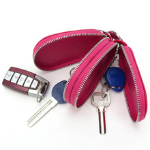 New Men Key Bags Cow Leather Car Keys Wallet Holders Brand Design Fashion Style Durable Brown Keychain Case Storage Zipper Pouch(China)