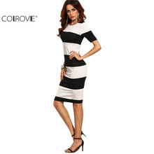 COLROVIE Black and White Contrast Wide Stripe Pencil Dress Women Autumn Elegant Short Sleeve O Neck Knee Length Dress