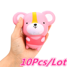 10pcs/lot 12CM Kawaii Cartoon Mouse Squishy Slow Rising Jumbo Hamster Doll Phone Straps Pendant Scented Bread Cake Kid Toy Gift