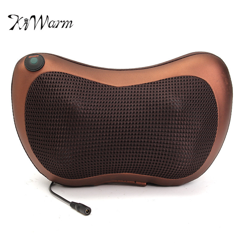 KIFIT Heat Massage Pillow Shiatsu Deep Kneading Massager Relax Neck Shoulder Pain Back Body Health Care Tool<br>