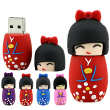 Pendrive 128G Japanese clothes girls USB Flash Drive 4/8/16/32/64GB Disk cartoon movie stick 16GB pen 32G thumb usb memory card(China)