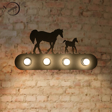 6 style Vintage American country lighting creative industrial horse animal Wall Lamp E27 for Bar Bedroom restaurant(China)