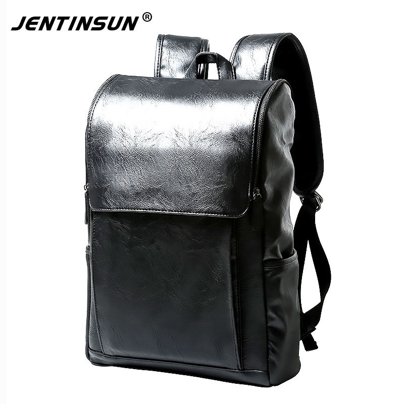 2017 Mens High Quality PU Leather Backpack Famous Brand Casual Men Laptop Backpack Black School Travel Backpack mochila escolar<br>